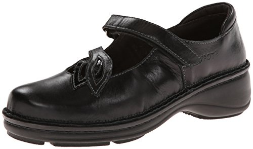 Naot Women's Primrose Mary Jane Flat,Black Madras Leather/Black Crinkle Patent Leather,37 EU/5.5-6 M US