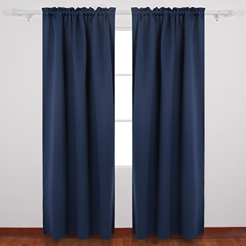 deconovo home decorations rod pocket blackout curtains room darkening panels thermal insulated