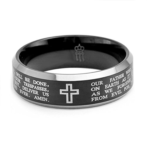 Three Keys Jewelry 8mm Tungsten Carbide Ring Wedding Engagement Band Black Beveled Edge Polish Laser Bible Cross Size 10