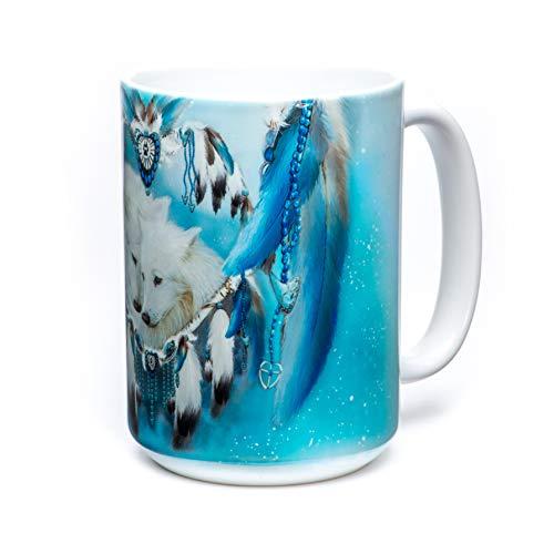 (The Mountain Wolf Heart Ceramic Coffee Mug, White, 15 oz)