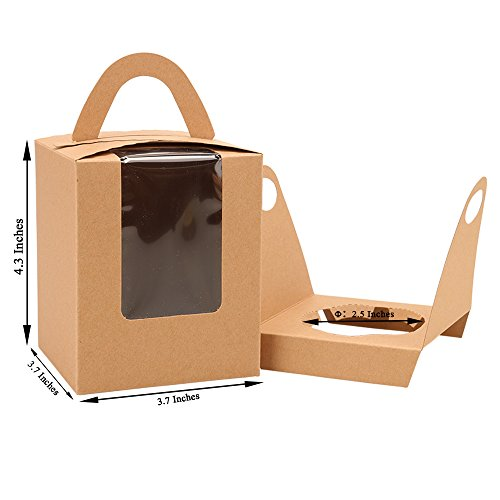 Cupcake Box Clear Display Window with Strong Handle and Secure Insert Bakery Box Holder Single Cupcake Carrier Individual Cake Container for Parties and Events (50, Brown) ()
