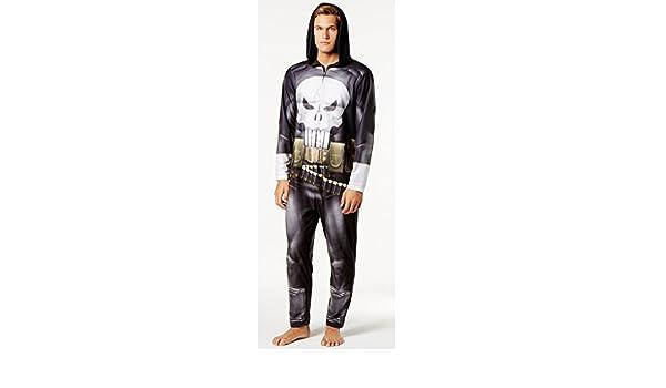 Amazon.com: Briefly Stated Mens Punisher Hooded Costume Pajama Jumpsuit, Large: Clothing