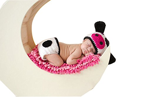 Cow Newborn Costumes (CX-Queen Baby Photo Prop Crochet Knitted Costume Cow Hat Diaper)