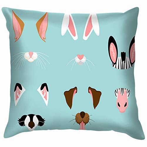 Cute Nice Animal Ears Animals Wildlife Face Throw Pillows Covers Accent Home Sofa Cushion Cover Pillowcase Gift Decorative 20X20 -