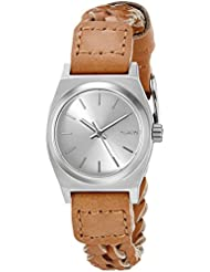 Nixon Womens A5092082 Small Time Teller Leather Analog Display Japanese Quartz Brown Watch