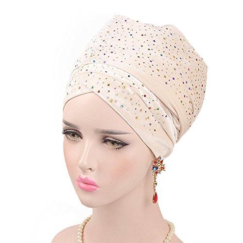 NEEKEY Women Starry Velvet Long Tail Turban Cap African Black Head Scarf Hat(Free Size,Beige) (Hat Velvet Pimp)