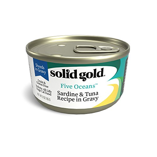 Solid Gold Shreds In Gravy Wet Cat Food; Five Oceans With Real Sardine & Tuna, 16Ct/6Oz Can