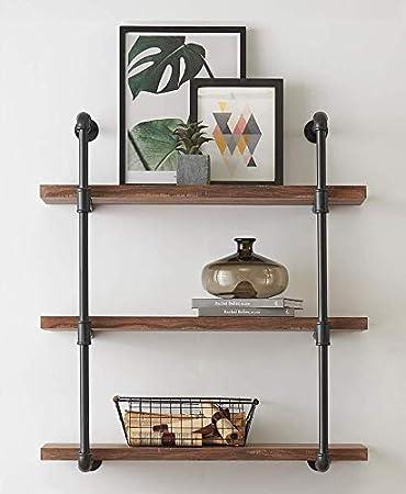 FODUE Industrial Wall Mount Iron Pipe Shelf Shelves Shelving Bracket  Vintage Retro Black DIY Open Bookshelf DIY Storage Office Room Kitchen (3  Tier)