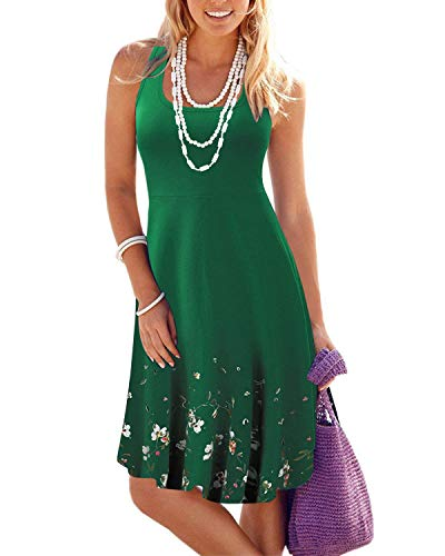 - VOTEPRETTY Women's Sleeveless Summer Beach Casual Flared Tank Dress(Green,M)
