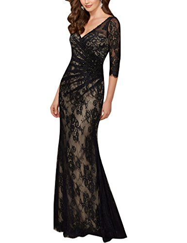 Cdress Sheer Lace Half Sleeves Mother of the Bride Dresses Evening Prom Gowns