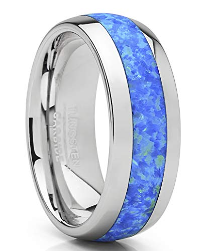 Metal Masters Co. Tungsten Carbide Wedding Band Dome Ring with Blue Green Simulated Opal Inlay 8mm 7