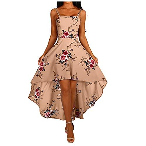 FFENYAN WOMENS BACKLESS 스파게티 스트랩 하이 로우 헴 스윙 꽃 드레스 여름 캐주얼 SUNDRESS 이브닝 가운