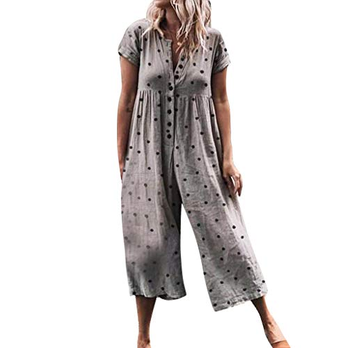 2019 Women Casual Wide Leg Short Sleeve Pants Dot Printed Button Opening Beach Baggy Long Rompers Playsuit Jumpsuit (Khaki, S) ()
