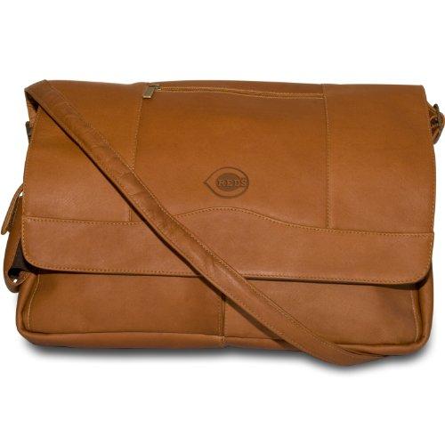 MLB Cincinnati Reds Tan Leather Laptop Messenger Bag