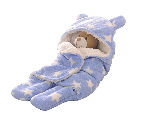 Baby Swaddle Blanket Sleep Sack In Coral Fleece Sherpa Super Soft Fabric Blue Colour Small Size