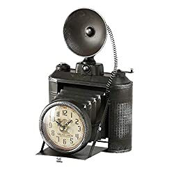 WHW Whole House Worlds Cunningham Clock, Retro Camera, Quartz Movement, Battery Powered (1 AA) 8 L x 7.5 W x 13 H Inches, for Table Tops and Mantels