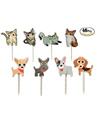 Sinrier 48 pack Cat and Dog Cake Cupcake Toppers Picks for Wedding Birthday Baby Shower Party Decorations