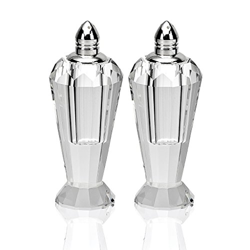 (Badash Pair of Optical Crystal Salt and Pepper Shakers, Height 4-Inch)