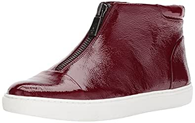 Kenneth Cole New York Women's Kayla High Top Front Zip Sneaker Patent Fashion, Wine 5 M US