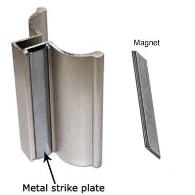 - Brushed Nickel Frameless Shower Door Handle with Metal Strike and Magnet - Set