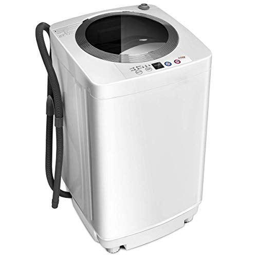 Giantex Portable Compact Full-Automatic Laundry 8 lbs Load Capacity Washing Machine Washer/Spinner W/Drain Pump (Washing Machine Clamp)