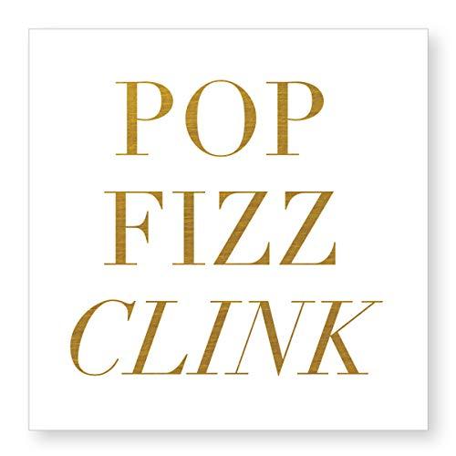 Pop Fizz Clink Gold Tone 5 x 5 Paper Disposable Beverage Napkins Pack of 20