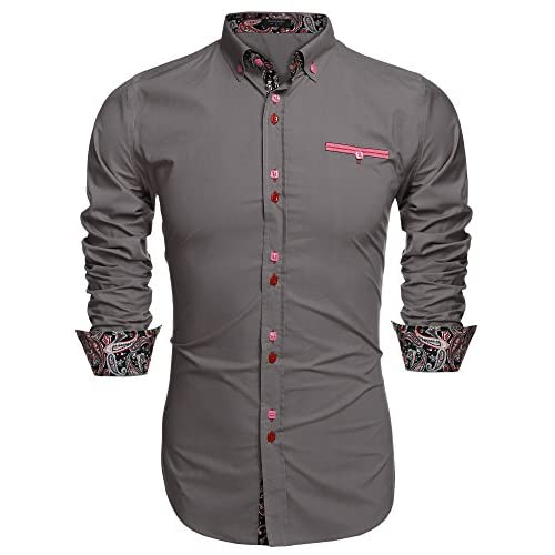 KLJR-Men African Print Stand Collar Dashiki Dress Shirt Tops
