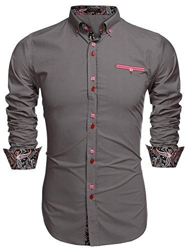 Coofandy Men's Fashion Slim Fit Dress Shirt Casual Shirt, 01-gray, X-Large