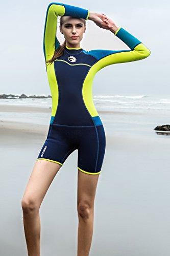 Micosuza Womens Shorty Wetsuit Long Sleeve 1.5MM Neoprene Back Zip Winter Swimwear  Long Sleeve Diving b8492530a