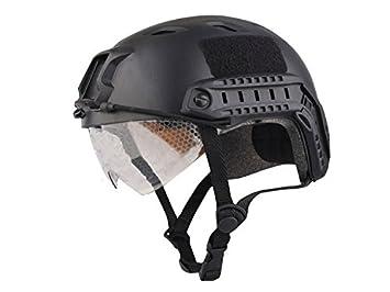 haoyk Bj tipo táctico casco Airsoft Paintball casco Fast con gafas de protección, negro