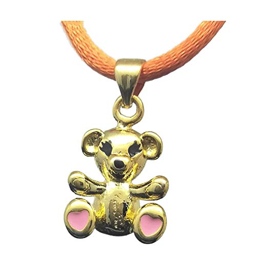 - Beauty-OU Golden Loving Bear Pink Heart Pendant & Faux Ribbon Rope Chain Necklace New Lovely Fashion Jewelry Gift for Kids Women Children