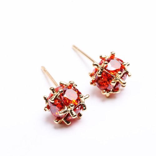 Vanski 18K Gold Plated Round Cut Red Simulated Diamond Stud Earrings for Women Girls Delicate Jewelry