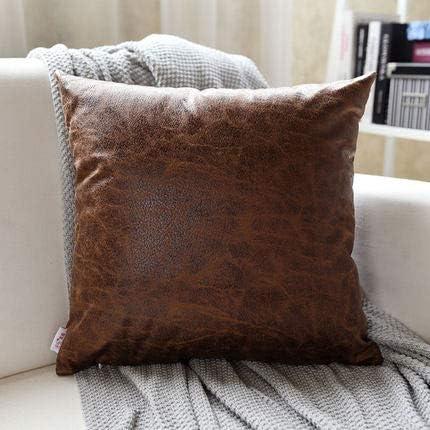 XMZFQ Juego de 2 Cojines Cuadrados con Relleno de algodón PP, Tela de Piel sintética, cojín Decorativo marmolado con Cremallera Oculta para el sofá Cama de la Oficina, 45 * 45 cm,A: