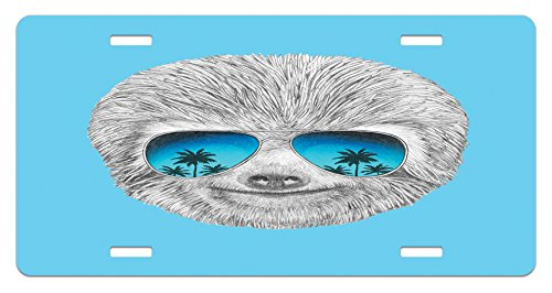 (Ambesonne Sloth License Plate, Portrait of Sloth with Mirror Sunglasses Exotic Palm Trees Hawaiian Beach Hipster, High Gloss Aluminum Novelty Plate, 5.88 L X 11.88 W Inches, Grey Blue Aqua)