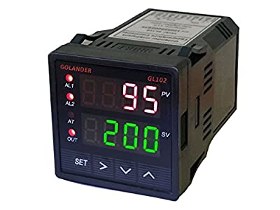 Universal 1/16DIN PID Temperature Controller, PID, On/off, Manual Control, with 2 Alarm Relays