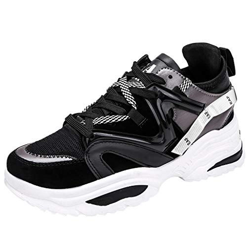 b8cef03f73bb1 Wkgre Men's Shoes Breathable Lacing Student Classic Sneakers Refined  Leisure Sports Athletic Running Maxi Shoes (9.5, Black)