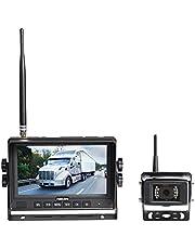 Haloview MC7108 7'' 720P HD Digital Wireless Backup Camera System 7'' LCD Reversing Monitor and IP69K Waterproof Rear View Camera Built in DVR Kit For Truck/Trailer/Bus/RV/Pickups/Camper/Van/Farm Mach