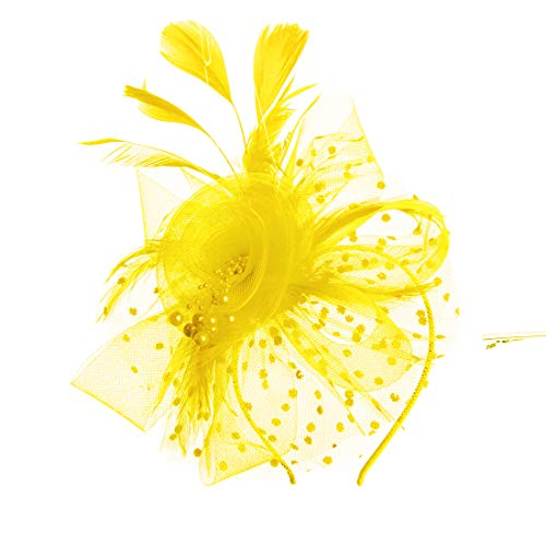SAFERIN Fascinator Hat Feather Mesh Net Veil Party Hat Flower Derby Hat with Clip and Hairband for Women (TA8-Yellow)