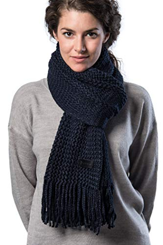 Mio Marino Womens Knitted Scarf - Winter Scarfs for Women - Ribbed Knit Womens Scarves - Navy - onesize