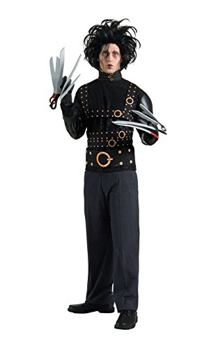 Couples Costumes Scary (Rubie's Edward Scissorhands Deluxe Costume, Black, One)