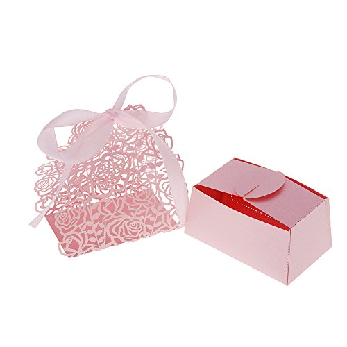Decdeal 12Pcs Laser Cut Wedding Favor Boxes, Rose Lace Candy Cookie Gift Box with Ribbon Pink, for Anniversary Party Wedding, Unfolded Boxes+Decorative Paper+Ribbons