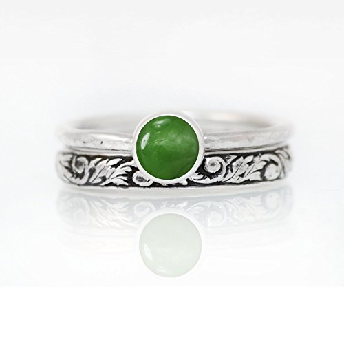 - Green Jade Bridal Ring Set, Sterling Silver Nature Inspired Promise Ring Set