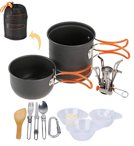 ANGLE Outdoor Camping Pot Trekking Cooker Backpack Cooking Picnic Bowl Pot Pot Set 4 Piece Set Camping cookware Mixing kit 1-2 People,orangehandle from ANGLE