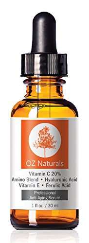 OZ Naturals - THE BEST Vitamin C Serum For Your Face - Organic Vitamin C  Amino  Hyaluronic Acid Serum- Clinical Strength 20% Vitamin C with Vegan Hyaluronic Acid Leaves Your Skin Radiant & More Youthful By Neutralizing Free Radicals. This Anti Aging...