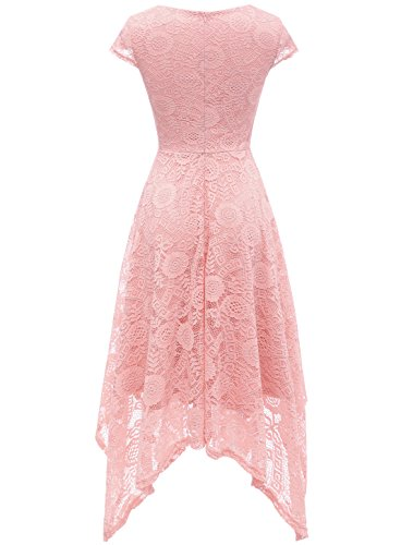 Blush Cap Party Cocktail Sleeve Handkerchief Floral AONOUR Lace Hem Dress Women's Swing 8tPqxR