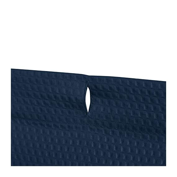 AmazonBasics Waffle Texture Shower Curtain - 72 Inch, Navy Blue - Durable, stylish waffle texture shower curtain Textural waffle pattern creates an understated, polished look in your bathroom Built-in ring holes make installation easy (rings not included) - shower-curtains, bathroom-linens, bathroom - 41Nih8y8NpL. SS570  -