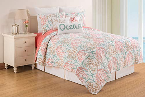 C&F Home Oceanaire Seafoam Coastal Beach Coral Full/Queen Reversible Cotton Quilt Set Full/Queen 3 Piece Set Oceanaire Seafoam