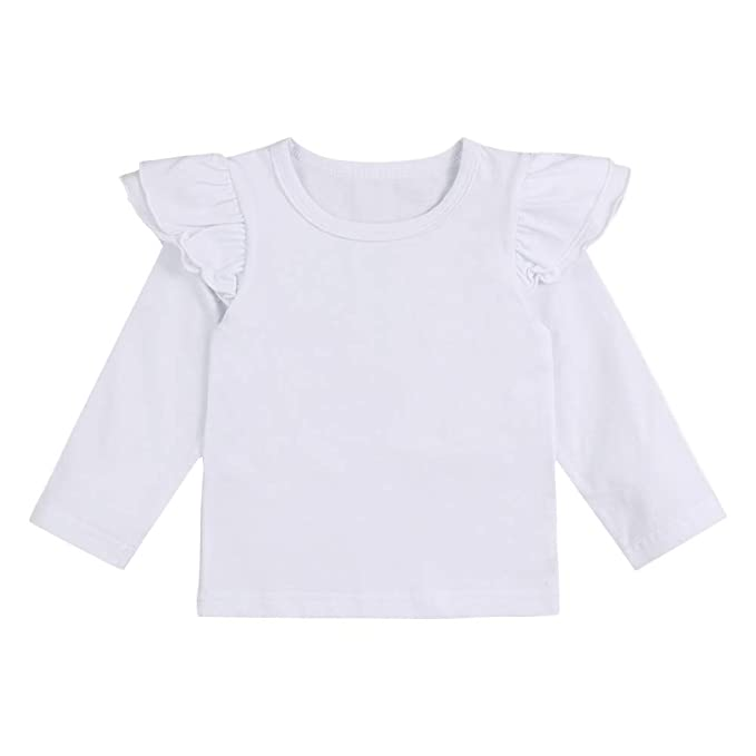 b8f1b0fd95e Hipealy Infant Toddler Baby Girl Top Basic Plain Ruffle Tee Long Sleeve T-Shirts  Blouse Clothes  Amazon.ca  Clothing   Accessories