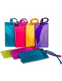 Paquete de 7 etiquetas de viaje para maletas, silicona flexible, identificación de viaje, juego para bolsas y equipaje, paquete multicolor