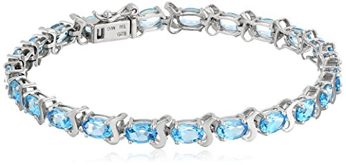 Swiss Blue Topaz Tennis Bracelet in Sterling Silver by Amazon Collection